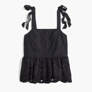 J.crew tie-shoulder eyelet peplum top
